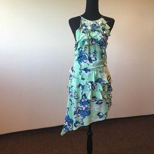 Chanel mint & blue silk ruffled dress